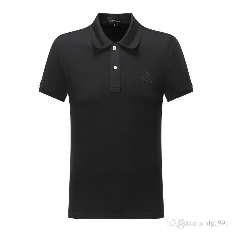 PP PPP2 Nova Moda Alemão Marca Designer de Verão Masculino Camisa de Pólo Meninos PP Perfuração Quente Hip Hop Street Polo De Algodão Polo Camiseta