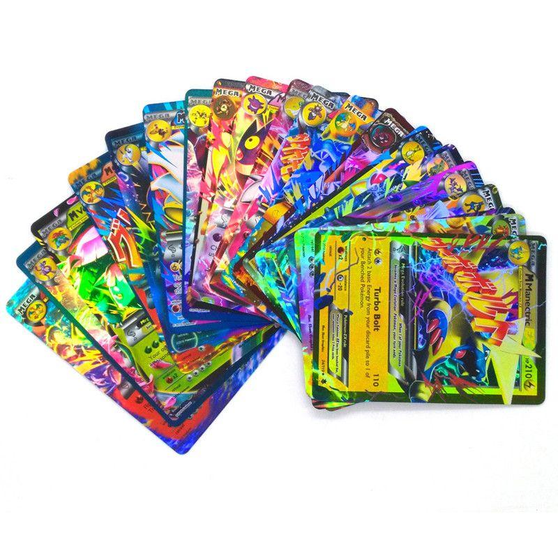 الكرتون جمع بطاقة 100PCS / مجموعة EX ميجا تألق الإنجليزية XY 100GX + مدرب + 20GX 20mega + 59EX بطاقات + 1Energy 72EX + 28Mega 80EX + 20 ميجا بطاقات