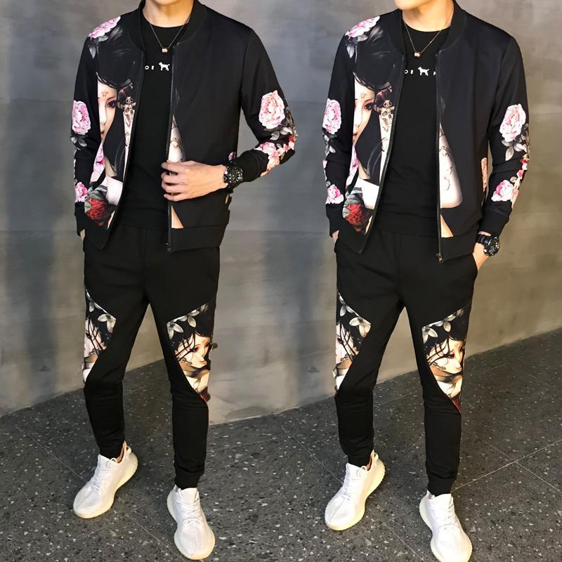 Tamaño hombre del chándal chándal Hombre asiático Moda Hombre Otoño 2020 Nueva Man Sport Conjunto 2 piezas Sport traje chaqueta + pantalones Hombres Set