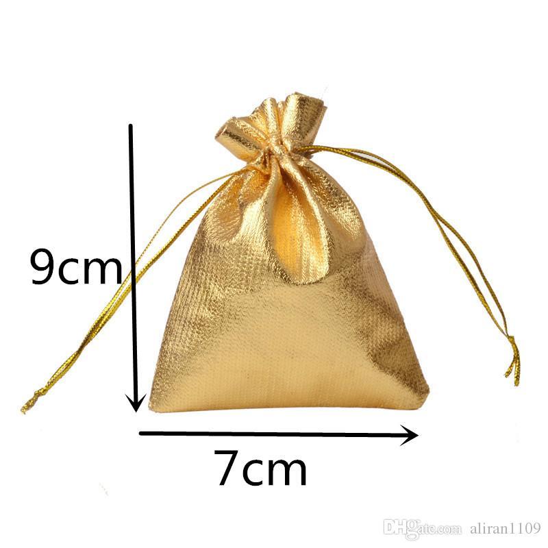 7x9cm 100pcs / lot Oro Argento coulisse Regali Borse Gioielli Organizzatore Sacchetti raso di Natale festa di nozze favori di imballaggio Bag