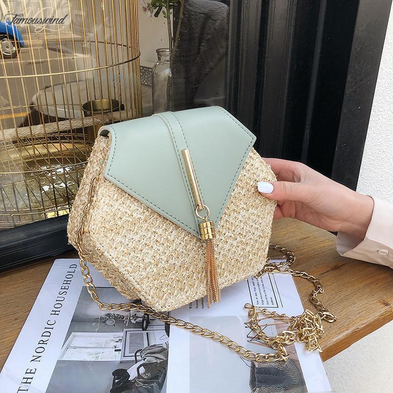 Couro Hexagon Tampa Mulit Estilo Straw Handbag Mulheres Verão Rattan Saco Handmade Woven Praia Círculo Bohemia Shoulder Bag Nova Moda