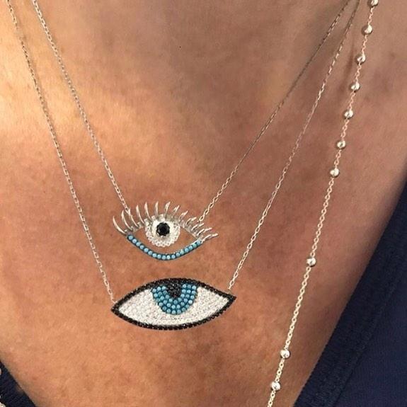 Großhandel Faktorpreis Mikro pflastern blaue cz bösen Blick Form Charme Anhänger Mode bösen Auge Anhänger Goldfarbe Frauen Halskette V191129 stieg