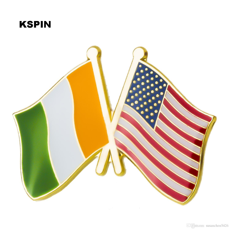 미국 아일랜드 우정 플래그 배지에 옷에 대 한 금속 핀 배지 브로치에 단추 보석에 대 한 브로치 XY0271