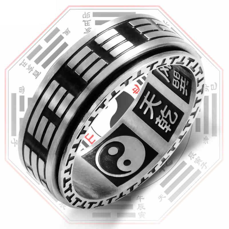 Tai Chi Vintage Mantra Preto Fidget Spinner Anel com padrão giratórios For Men Mens Stainless Steel bodas de prata Anéis