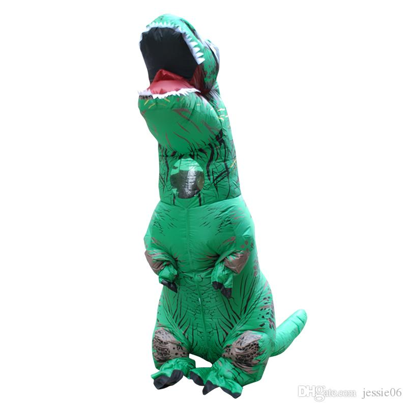 Şişme Dinozor Tema Kostüm Fantezi Tulum Tam Vücut Cadılar Bayramı Cosplay Fantezi Giyim Fan Ile Genç Genç Yetişkinler Için Eldiven