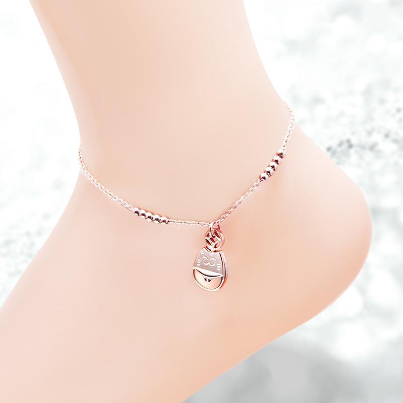 2020 neuer Single Diamant Brief Doppel Glocke Kleiner Fisch-hängender Diamant-Tropfen Öl Anklet Rose Gold Fat Cat Anklet Erzeugung Haar