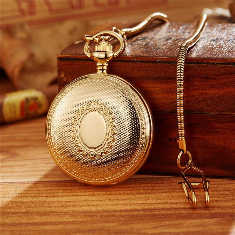 Luxury Skeleton Mechanical Pocket Watch Mens Fob Chain Golden Automatic Self-winding Women Men Watch Gift Clock