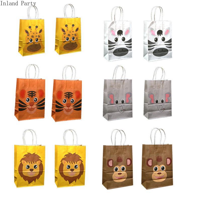 가방을 포장 6PCS 동물원 사자 테마 크래프트 종이 가방 베이비 샤워 호랑이 원숭이 얼룩말 선물 종이 가방 스티커 크리스마스 캔디 쿠키