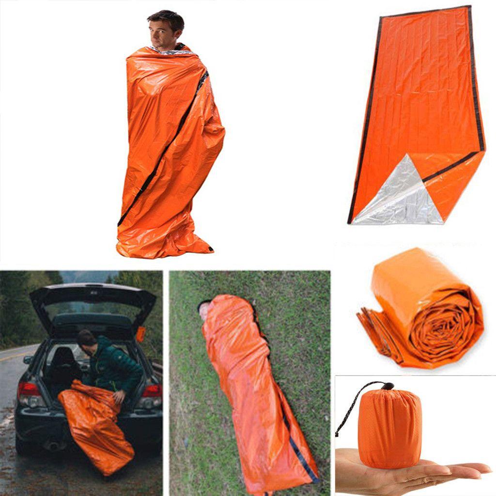 Cobertor de emergência saco de dormir térmico impermeável para Outdoor Survival Caminhadas Camping Acampamento Engrenagens de sono Bolsa Fria Lifesaving