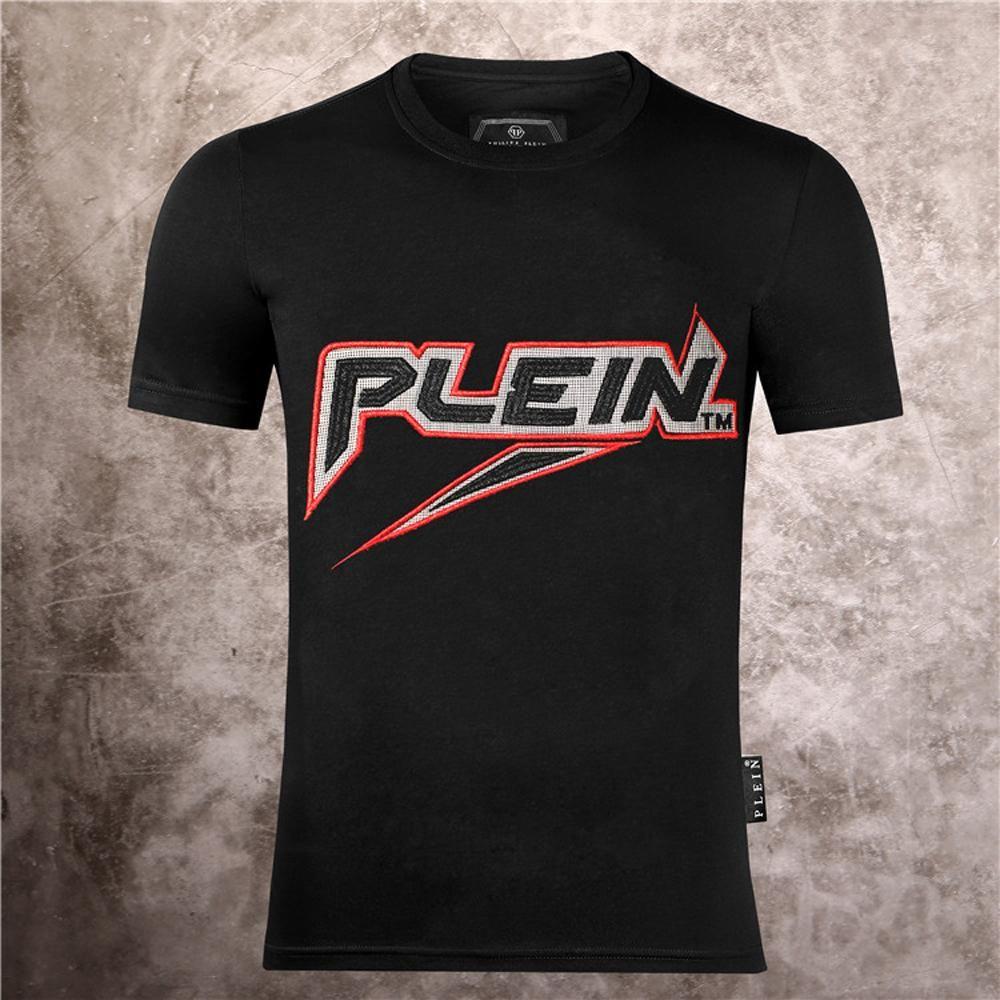 Philip Plain marca Mens progettista delle magliette di lusso della maglietta Firmata Uomo Moda estate Homme Mens Skull maglietta Tee Top 525