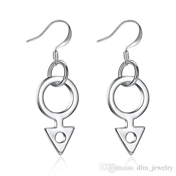 Chapado en plata de ley pendientes de la moda geométricas tamaño DJSE958 3.4 * 1.1CM; 925 Pendientes de plata de la joyería del encanto de la placa de las mujeres