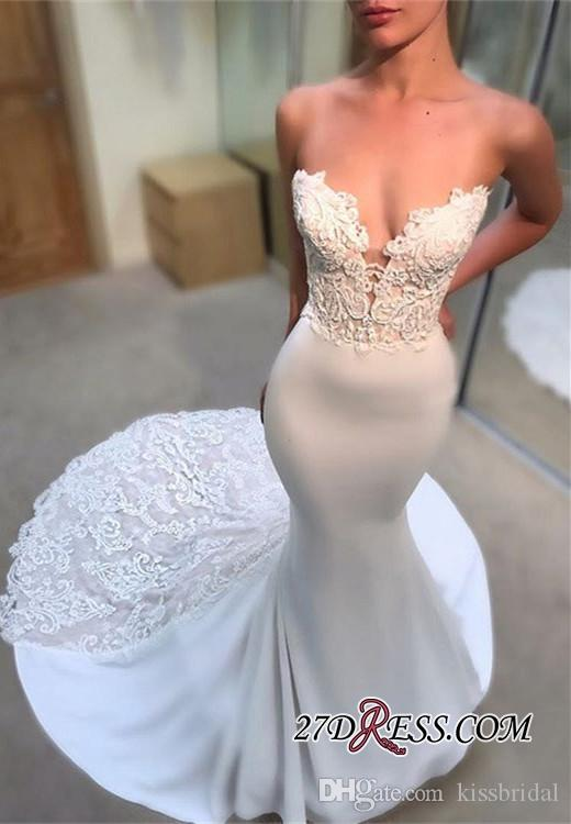 Sexy Mermaid Lace Wedding Dresses 2019 Strapless Sleeveless Vintage Wedding Dress Bridal Gowns Plus Size Formal Gown for Bride