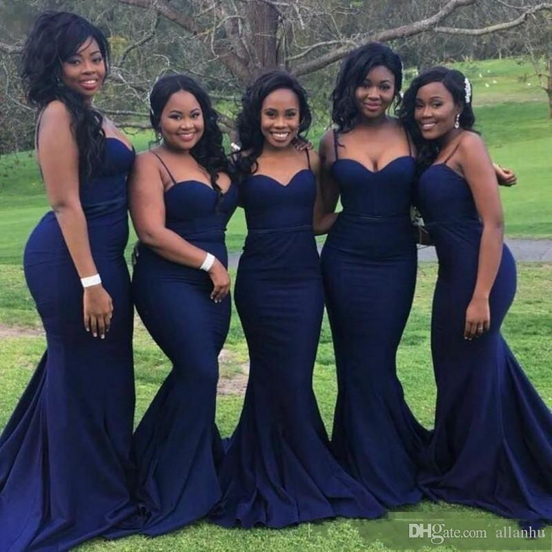 2020 مثير الأزرق الداكن وصيفة الشرف للضيف حفل زفاف حزب الأشرطة رخيصة مع الحبيب الرقبة زائد الحجم الأفريقية السوداء بنات الحفلة الراقصة اللباس
