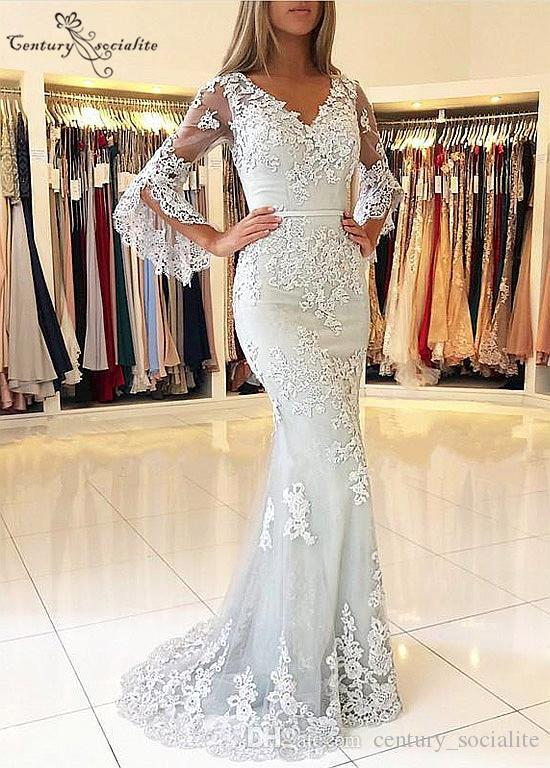 Mermaid Evening Dresses Long Sleeves Lace Appliques Beaded V-Neck Button Back Sweep Train Prom Party Dresses Robe de soire
