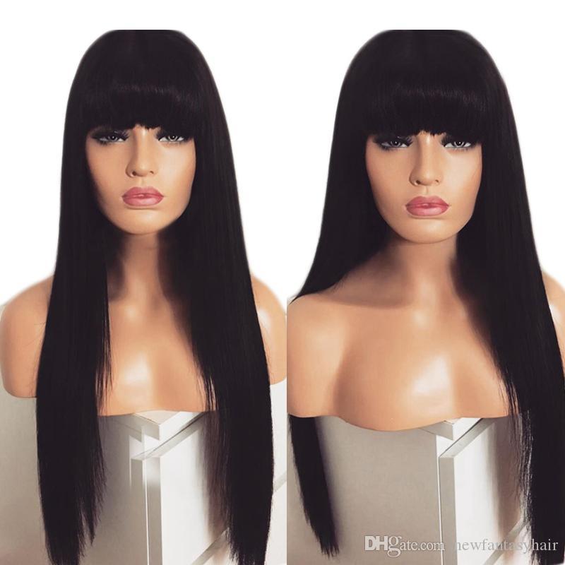 28inches Lange natürlicher Black Silk Gerade Simulation menschliche Haar-Perücken hitzebeständige synthetische Spitze-Front-Perücke mit Pony-Frisur für schwarze Frauen