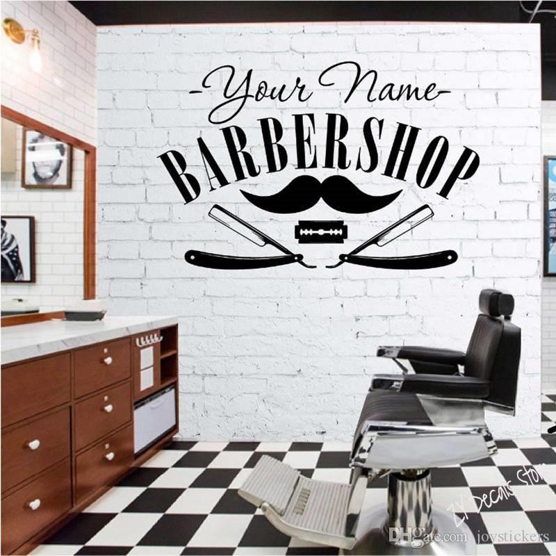 Hair Salon Sticker Decal Hair Gentleman Posters Shave Wall Art Decals Barber Shop Parede Decor Custom Name Stick