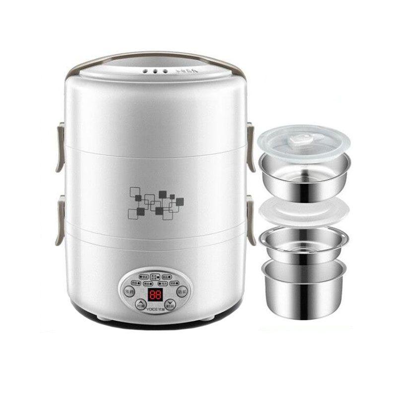 2L électrique intelligent Boîte à lunch cuiseur à riz Portable Liner en acier inoxydable Pluggable chauffage Isolation cuisson