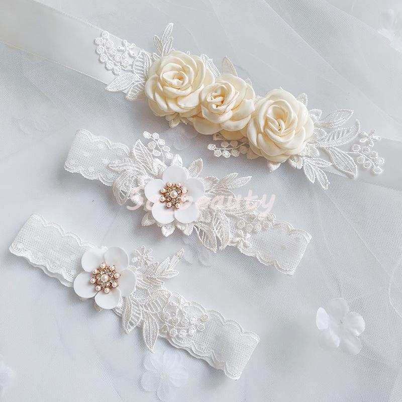 신부 띠 벨트 레이스 가터 세트 아이보리 꽃 허리띠 꽃 들러리 드레스 띠 웨딩 액세서리 가운 리본 SW205