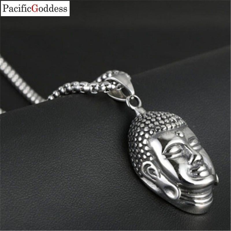 الفولاذ المقاوم للصدأ الأزياء والمجوهرات قلادة بوذا رئيس قلادة سلسلة ربط قلادة للنساء والرجال