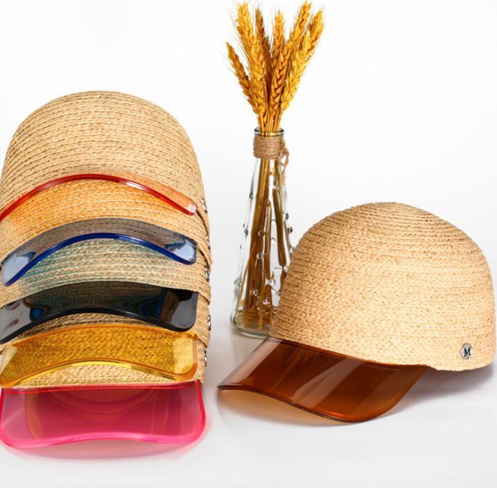 Kadınlar Saman Beyzbol Şapkası M Mektubu Şeffaf PVC Patchwork Saman Nefes Yaz Şapka Snapback Şapka Visor LJJK1679