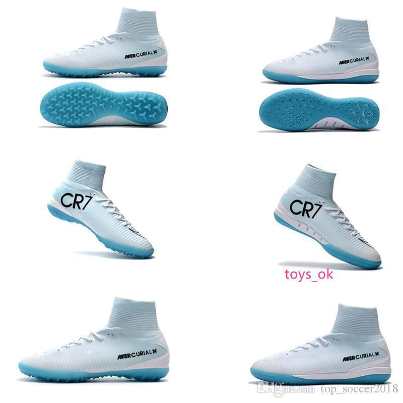 White CR7 Blue Original Flat Soccer Cleats Mercurial Superfly V TF/IC SX Indoor Kid Soccer Shoes Cristiano Ronaldo 7 Football Boots