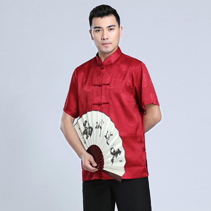 Hanfu erkekler yaz kısa kollu sabah antrenmanı Tai Chi giysiler gündelik erkekler gömlek Çin kısa kollu gömlek başında günlük başında