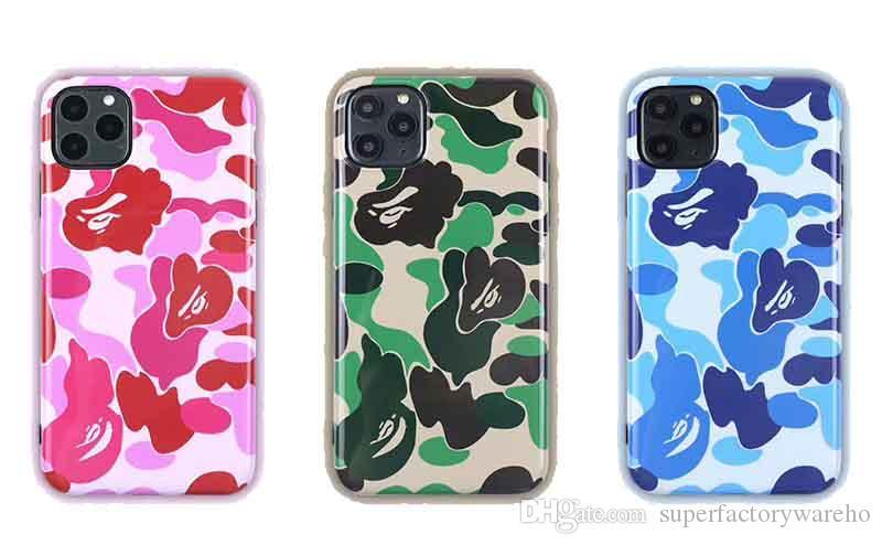 cajas del teléfono de lujo para el iPhone cubierta del teléfono 11 Designer Pro máximo teléfono camuflaje de moda anti-caída para iPhone XS Max XR 8 7 más contraportada