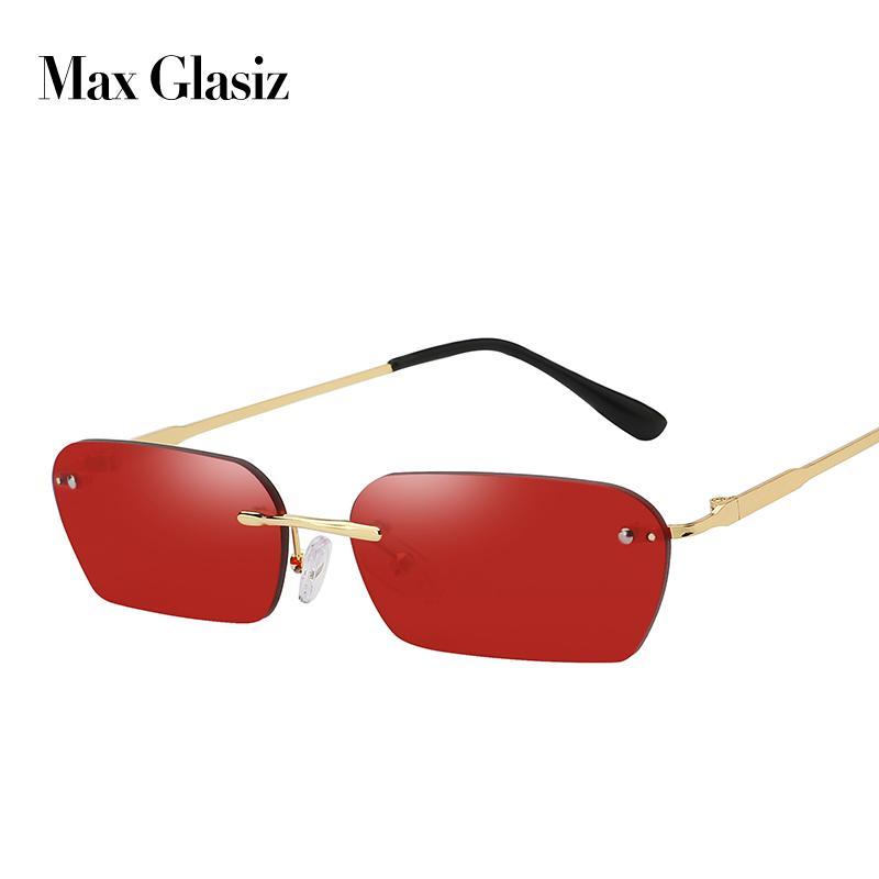 ماكس Glasiz 2019 وصول جديد ساحة وموضة النظارات الشمسية النساء مستطيل بدون إطار نظارات شمسية أنثى السيدات gafas دي سول T200615