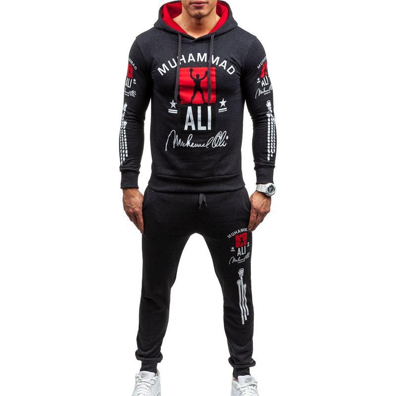 ZOGAA Agasalho dos homens Marca New Two Piece Set Masculino Casual Sweatsuit Sportwear Com Capuz Camisola Com Calças Conjunto de Homens Terno de Pista