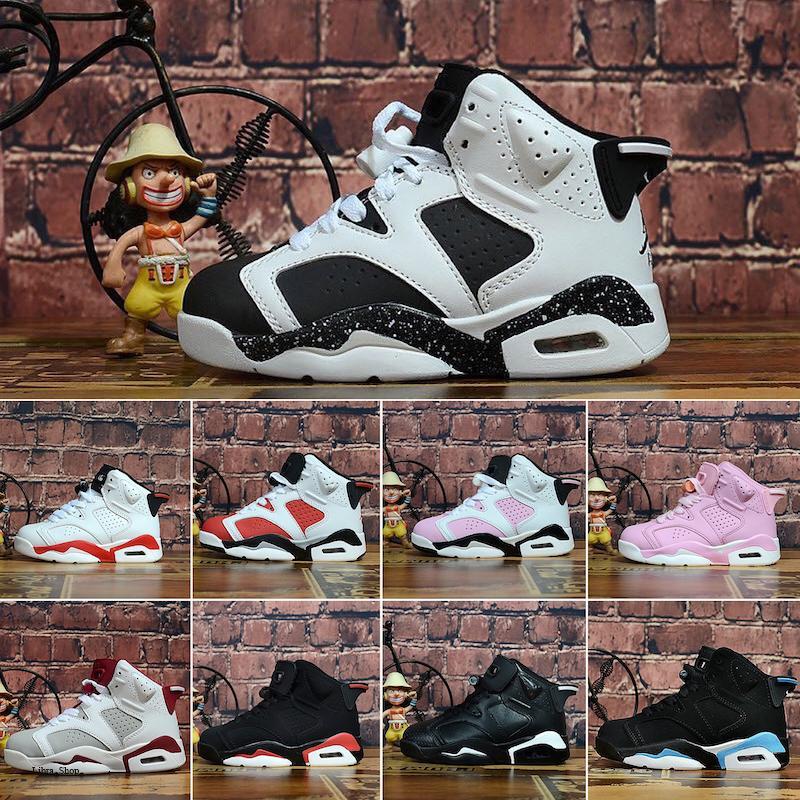 Nike Air Jordan 6 Sıcak satmak Çocuklar 4 6 Basketbol Ayakkabı Toptan Yeni 1 uzay sıkışması J6 Sneakers çocuklar Spor Koşu kız erkek eğitmenler ayakkabı 28-35