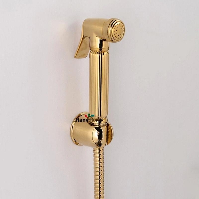 Torneira Туалет Золотой Ручной подгузник Биде Распылитель для душа Shattaf Spray Douche kit Jet Copper Золотой держатель 1,5 м Шланг