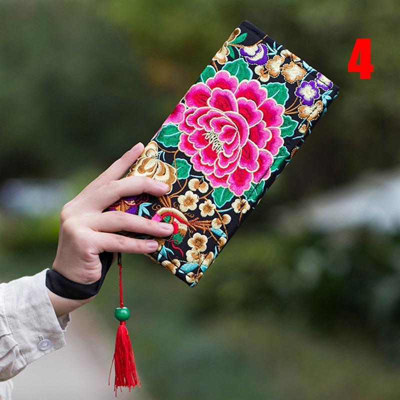 Borsa della tela della borsa della moneta del ricamo etnico della borsa della borsa delle nuove donne Flowe FA $ 1
