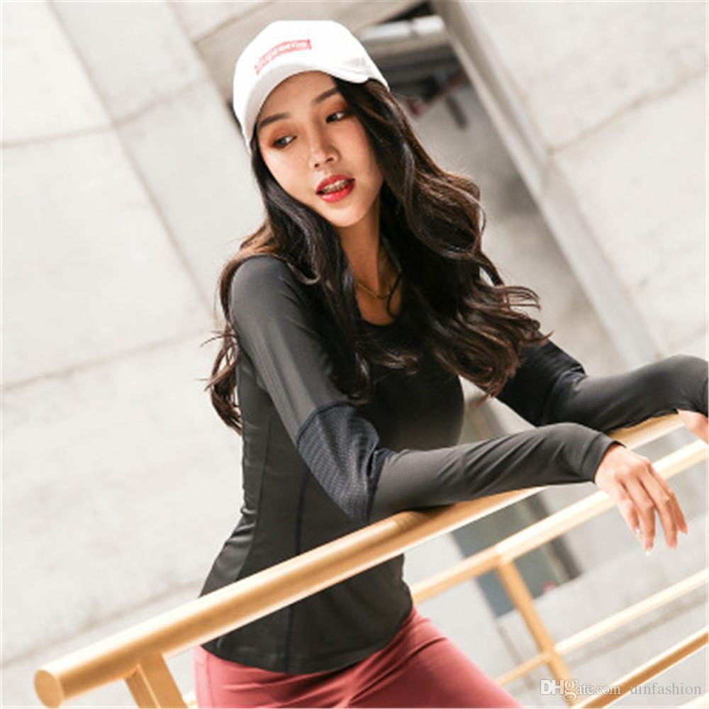 Kadın Yoga Gömlek Uzun Kollu Egzersiz Gym Top Katı Yoga Nefes Fitness Spor Gömlek Hızlı Kuru Koşu Üst