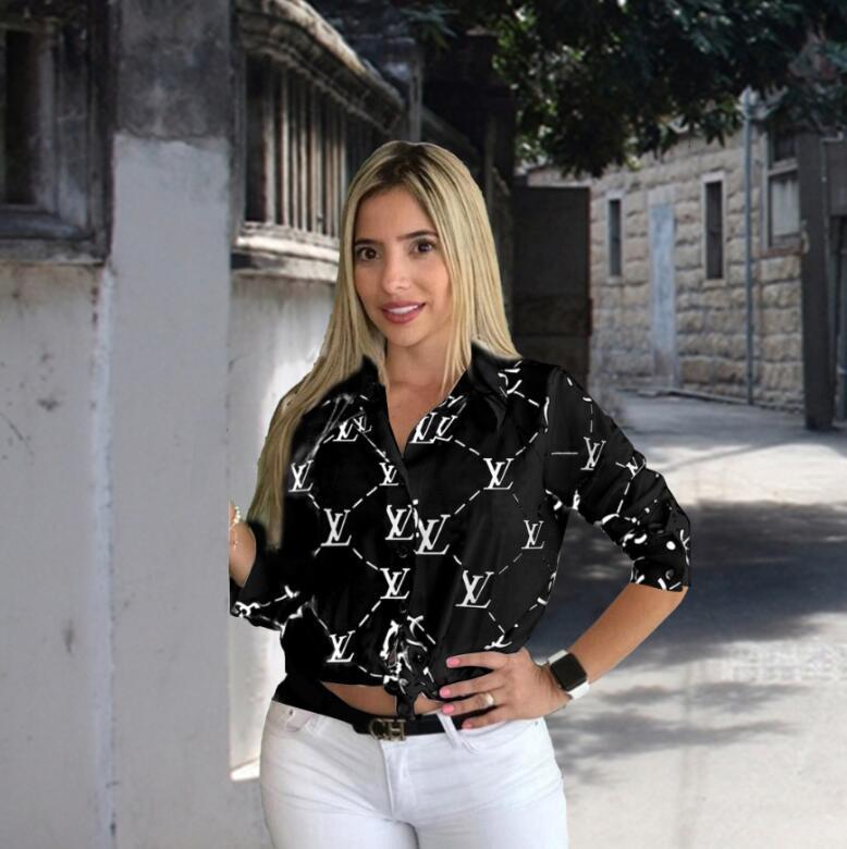 여성 블라우스 화이트 블랙 섹시 옷깃 긴 소매 버튼 셔츠를 인쇄하는 드레스 미니 드레스 스트리트 여성 의류 여성에게 캐주얼 셔츠 탑