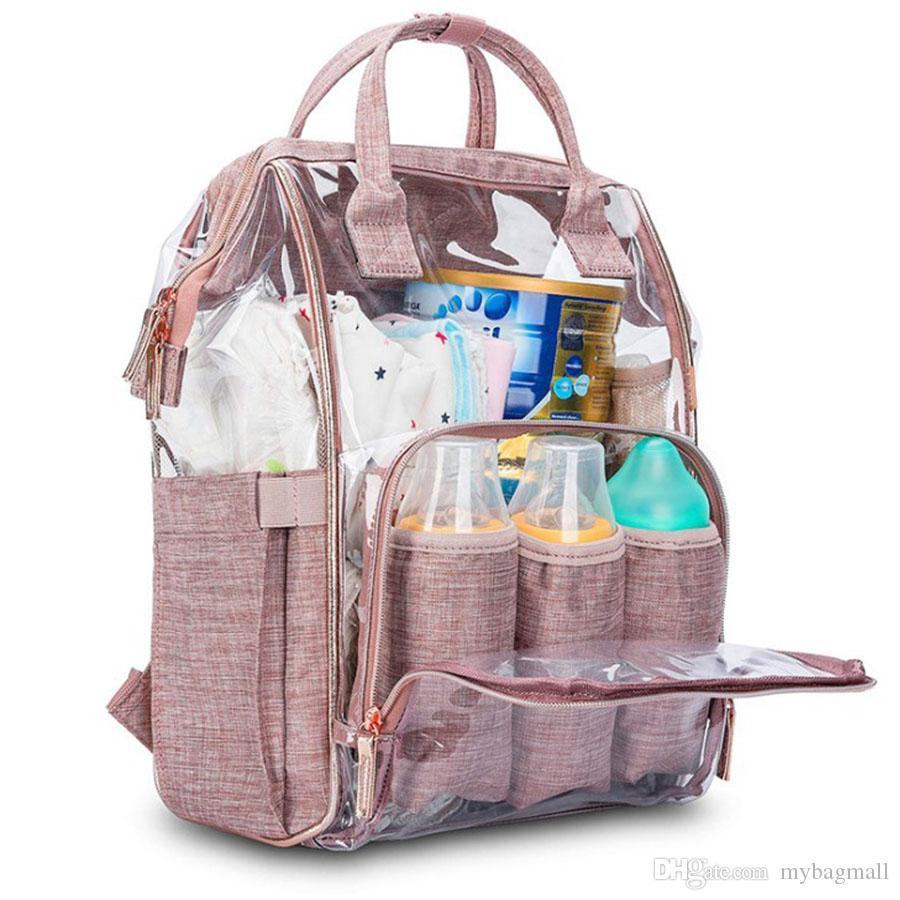 Качество Многофункциональная мода Прочный повседневная водонепроницаемая высокая большая для детской розовой мамочной емкости Сумка DAD рюкзак XLMHB