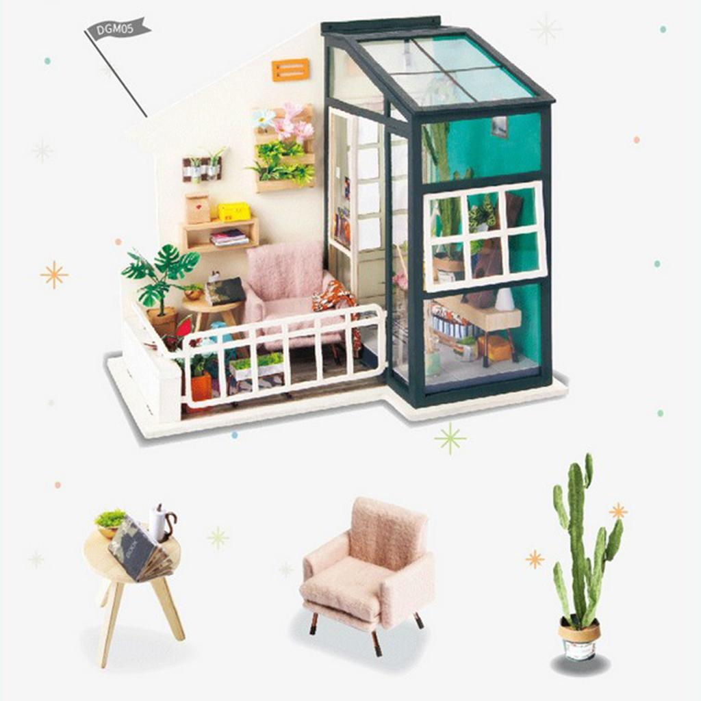 1:24 Dollhouse Kit Miniature DIY Lunge Warm Home House Kits Best Birthday Gifts for Teens Education Toys