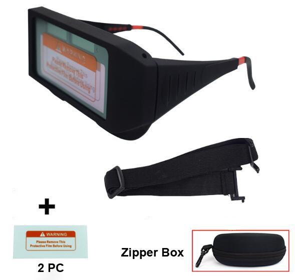 Solar Auto Escurecimento Capacete de Soldagem Capacete Protetor de Olhos Óculos de Soldador Cortador De Máquina De Solda Máscara Filtro Len Ferramentas + Caixa de Zíper