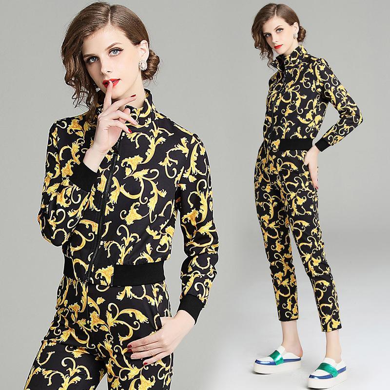 Nueva Llegada de Verano de Las Mujeres 2 Unidades Conjuntos Impreso Sudadera Tobillo Longitud Pantalones Moda Mujer Chándales Sudaderas Con Capucha Outfiits
