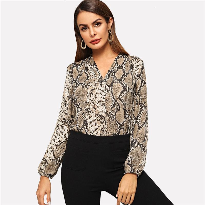 Women Clothing Blouses For Women Multicolor Lady Elegant Snakeskin V Neck Workwear Blouse Autumn Women Modern Lady Tops And Blouse