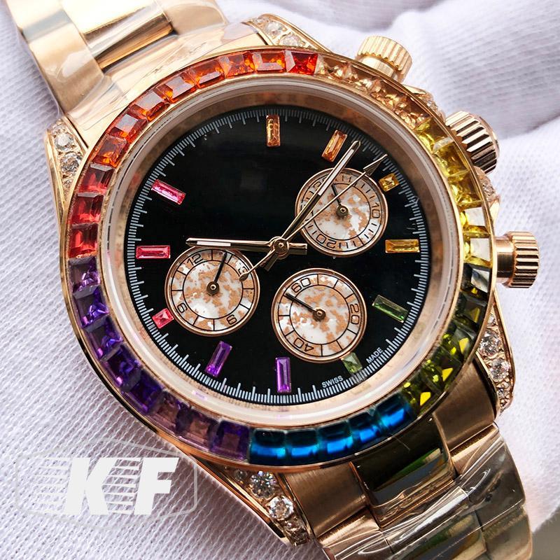Sapphire Crystal Rose d'or de luxe Mouvement mécanique automatique glacÉ 116599 RBOW Diamants Hommes Montres Homme Montres-bracelets Mode