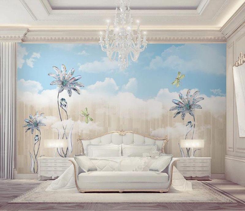 cielo azul encargo de la foto del papel pintado 3D Nueva cristal de la moda y la nube blanca de la sala de TV Dormitorio fondo de la pared murales de papel tapiz para paredes 3D
