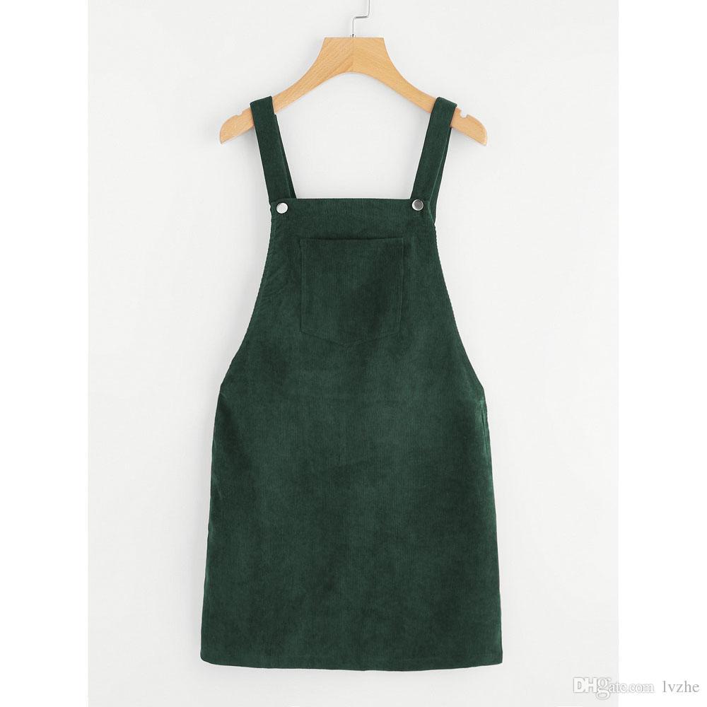 COTTONI-Dresses Womens Straps A-line Corduroy Overall Warm Pockets Sleeveless Shirt Mini Dress
