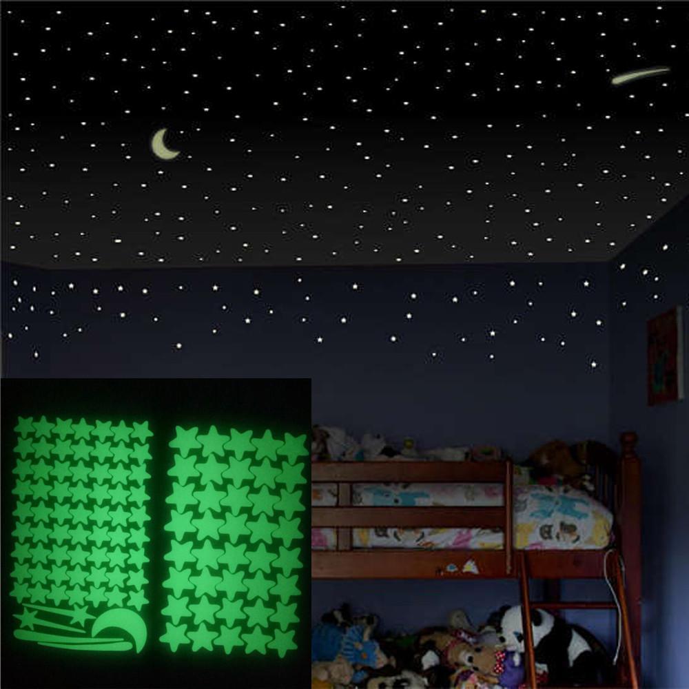Fluorescent Star Kid Bedroom Ar Glow In The Dark Mermaid Night Light Stickers