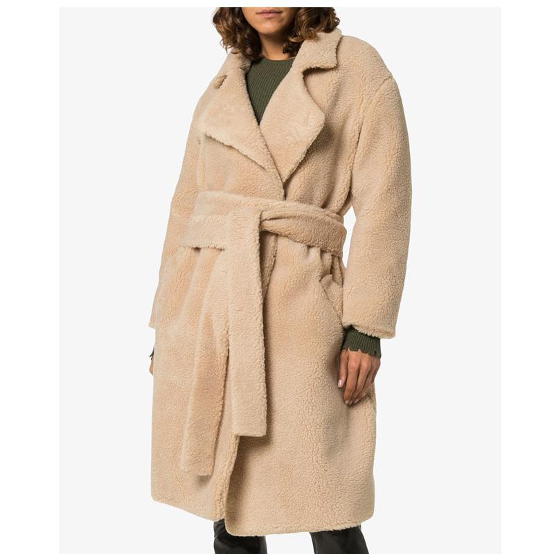 CP Faux Wool Fur Long Coat Women Fashion Turn Down Collar Fur Jacket Women Casual Long Sleeves Jacket Female Ladies CP202