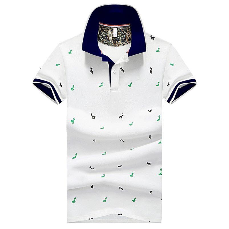 Мода-Мужская Мода Вышитые Рубашки Поло 4 Цвета Плюс Размер Мужской Футболки с Воротником Вниз M-4XL Slim Fit Топ на Лето