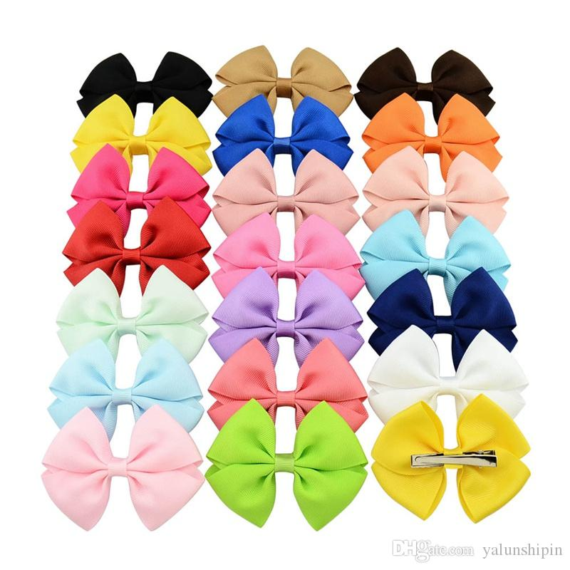 New 20 Color Baby Hair Bows Kids Ribbon glitter Elastic Hair Sticks for Girls Children Hair Accessories Double Bowknot Hairband