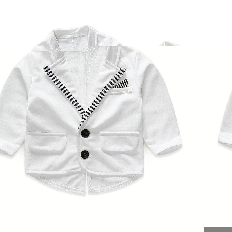 봄 가을의 아기 세트 신생아 의류 새로운 아기 소년 신사 정장 긴 소매 줄무늬 Romper + 흰색 겉옷 2 piece suit