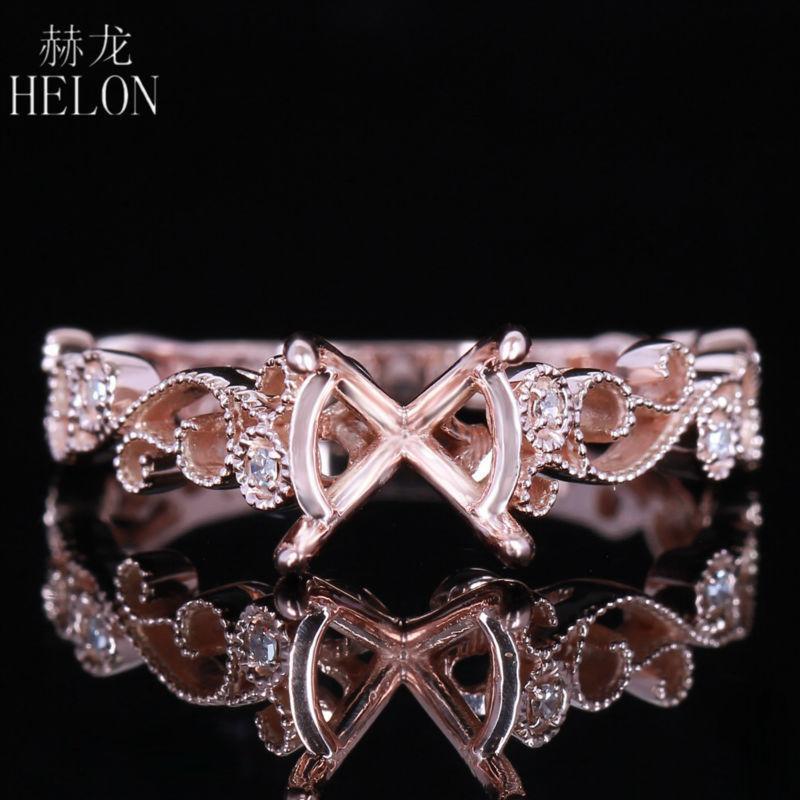 Helon Art Deco Antique 7mm-8mm Round Solid 14k/585 Rose Gold Pave Diamonds Engagement & Wedding Semi Mount Filigree Femmes Ring Y19052301