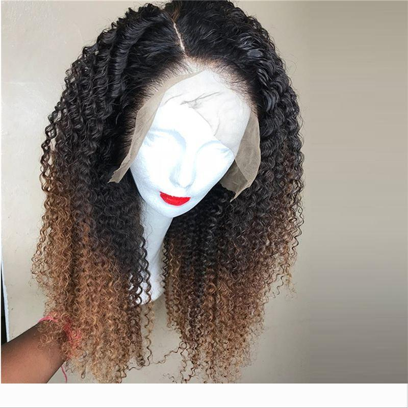 Ombre Cor completa encaracolado humano laço perucas de cabelo com o bebê cabelo descolorido Nós brasileira Remy Lace frontal Perucas Pré-arrancada