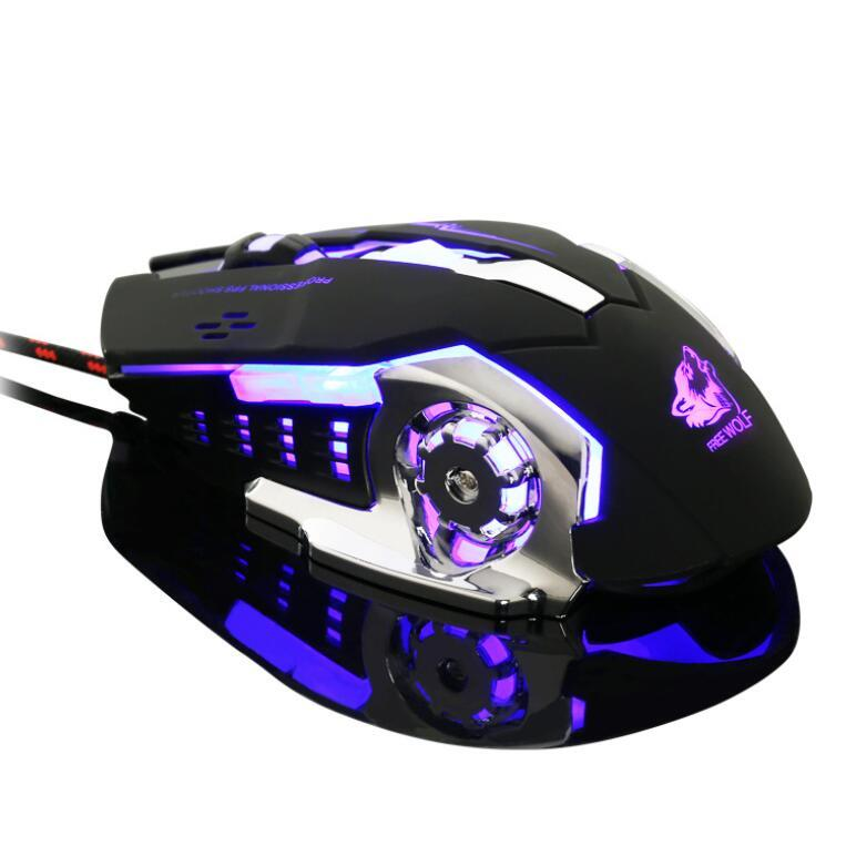 Gaming Mouse USB Braided Wired Mice 2400DPI Switchable Mouse for Gamer Office Optical Gaming Mice with Breathing Lights Backlights XJC